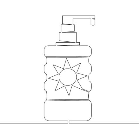 Continuous one single line drawing moisture Sunscreen icon vector illustration concept