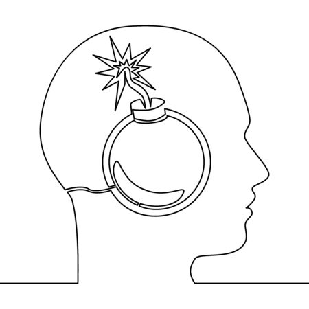Continuous one single line drawing explosion head stressful situations icon vector illustration concept