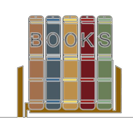Flat colorful continuous drawing line art Stack of books Study icon vector illustration concept Illustration