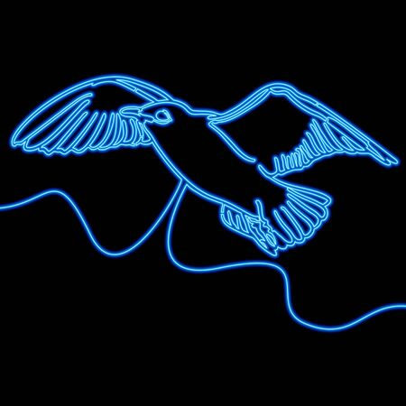 Continuous one single line drawing Bird blue  icon neon glow vector illustration concept Banque d'images - 143334253