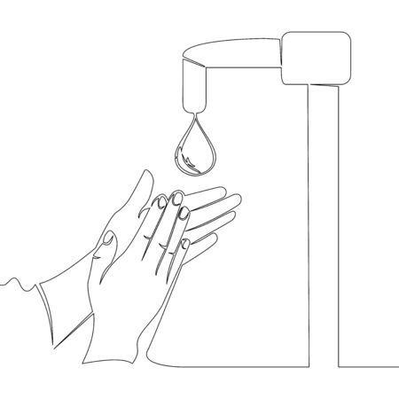 Continuous one single line drawing washing hands icon vector illustration concept Illusztráció