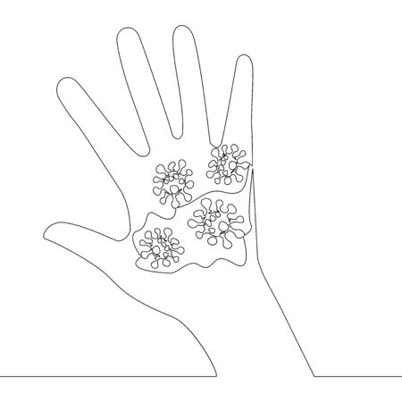 Continuous one single line drawing infection on hand icon vector illustration concept