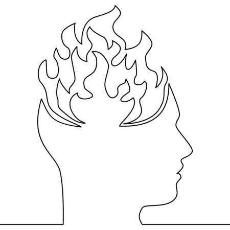 Continuous one single line drawing emotional burnout icon vector illustration concept