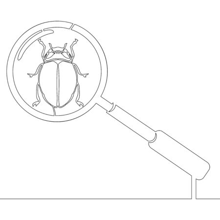 Continuous one single line drawing magnifying glass looking for Bugs icon vector illustration concept