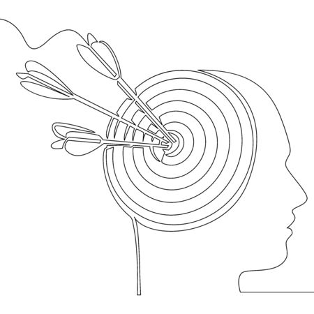 Continuous one single line drawing headhunting agency icon vector illustration concept