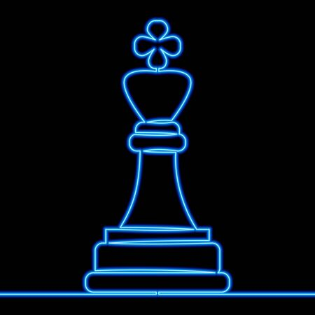 Continuous one single line drawing chess king strategy leadership icon neon glow vector illustration concept