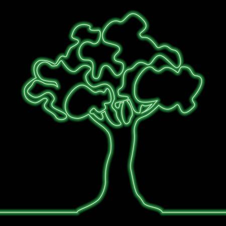 Continuous one single line drawing Green tree icon neon glow vector illustration concept Illusztráció