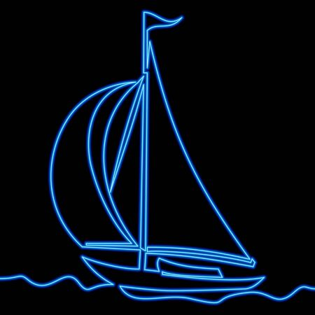 Continuous one single line drawing Sailing boat ship icon neon glow vector illustration concept