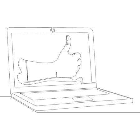 Continuous one single line drawing Likes recommend icon vector illustration concept