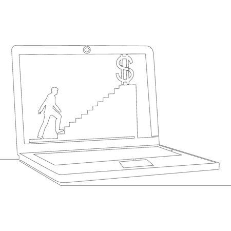 Continuous one single line drawing laptop internet business icon vector illustration concept