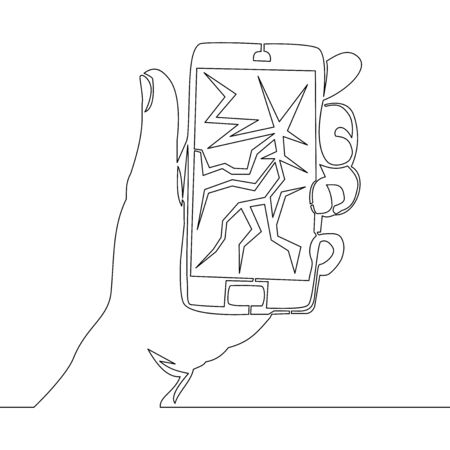 Continuous one single line drawing smartphone Broken cracked screen icon vector illustration concept