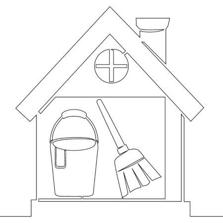 Continuous one single line drawing clean tools housework icon vector illustration concept Illusztráció