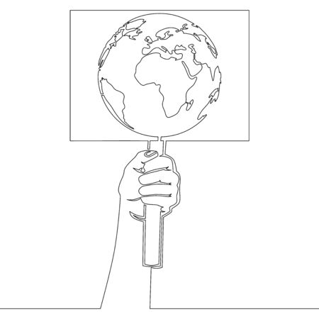 Continuous one single line drawing hand with protest sign earth planet icon vector illustration concept
