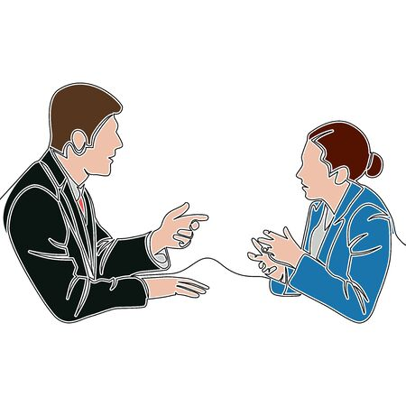 Flat continuous drawing line art Two business professionals man and woman discussing icon vector illustration concept