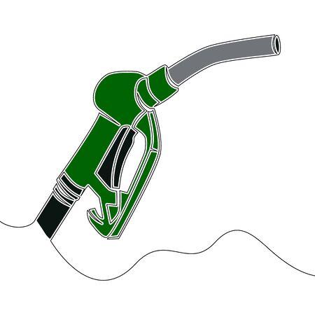 Flat continuous drawing line art Gasoline pump nozzle Gas station icon vector illustration concept