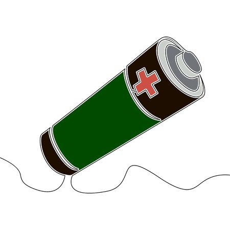 Flat continuous drawing line art Battery accumulator icon vector illustration concept