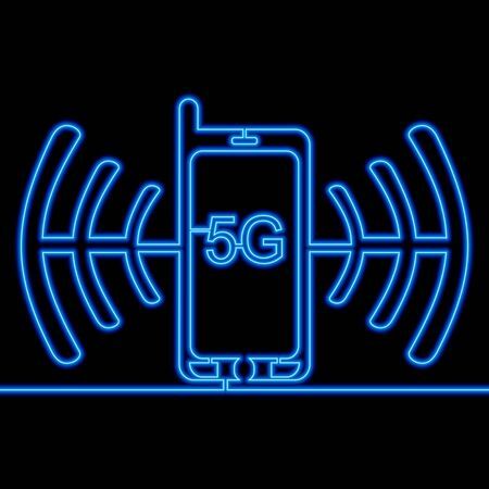 Continuous one single line drawing smartphone 5G network icon neon glow vector illustration concept