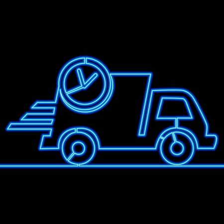 Continuous one single line drawing Truck delivery Express service Transportation icon neon glow vector illustration concept