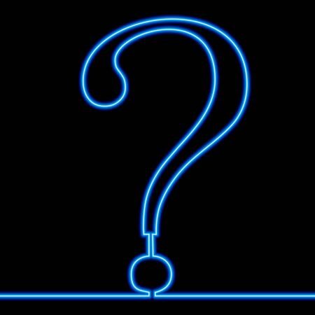 Continuous one single line drawing question mark icon neon glow vector illustration concept Illustration