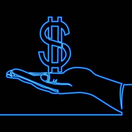 Continuous one single line drawing hand holding dollar sign icon neon glow vector illustration concept