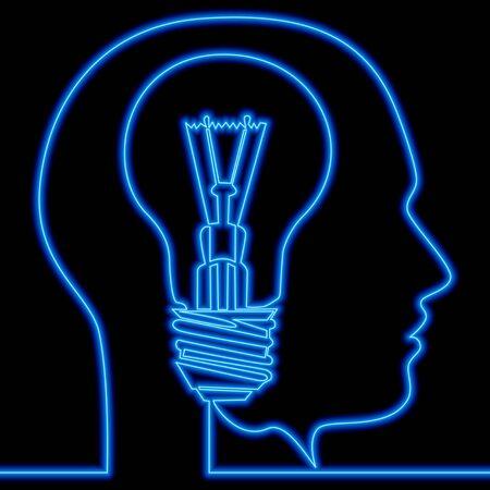 Continuous one single line drawing Head silhouette light bulb inspiration icon neon glow vector illustration concept Illusztráció
