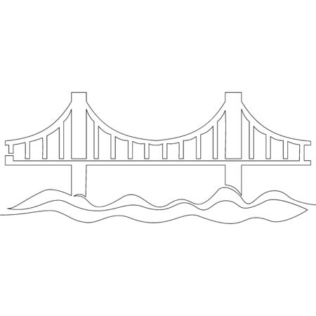 Continuous one single line drawing Bridge icon vector illustration concept