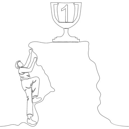 Continuous one single line drawing man climbs the mountain challenge icon vector illustration concept