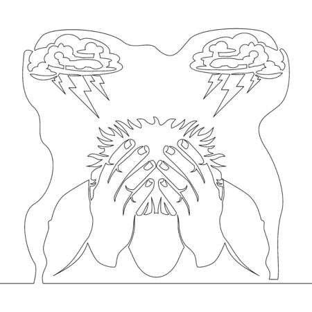 Continuous one single line drawing man in deep depression stressful situations icon vector illustration concept Illustration