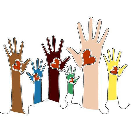 Flat continuous drawing line art Unity in diversity Volunteers Raised Hands with hearts icon vector illustration concept