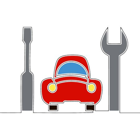 Flat continuous drawing line art Car repair emergency service icon vector illustration concept