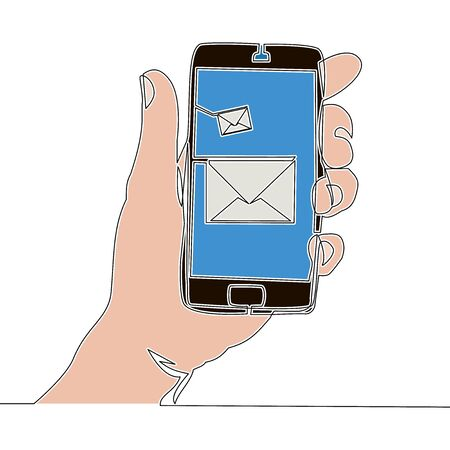 Flat continuous drawing line art hand holding smartphone with new message icon vector illustration concept