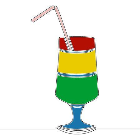 Flat continuous drawing line art Cocktail icon vector illustration concept Illusztráció