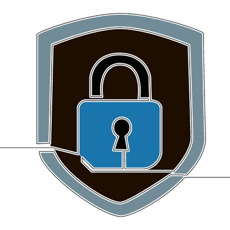 Flat continuous drawing line art security lock icon vector illustration concept
