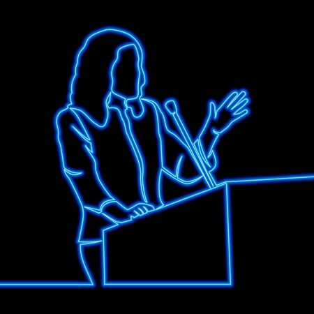 Continuous one single line drawing Woman speaker icon neon glow vector illustration concept