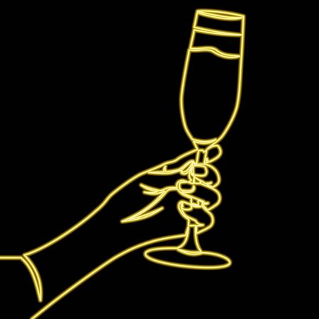 Continuous one single line drawing Hand holding glass yellow icon neon glow vector illustration concept Illusztráció