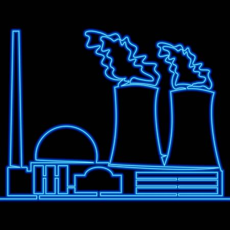 Continuous one single line drawing factory nuclear power plant icon neon glow vector illustration concept