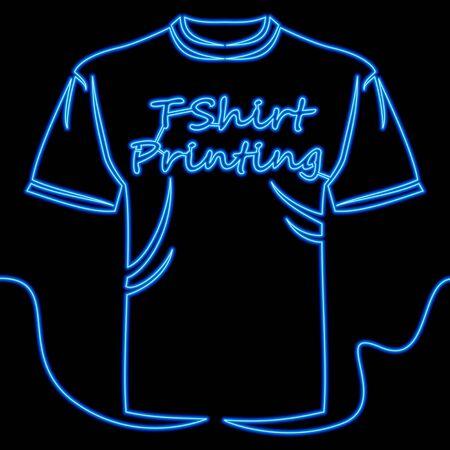 Continuous one single line drawing T-shirt printing blue icon neon glow vector illustration concept Illusztráció