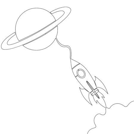 Continuous one single line drawing spacecraft Conquest of Space Rocket icon vector illustration concept Illusztráció