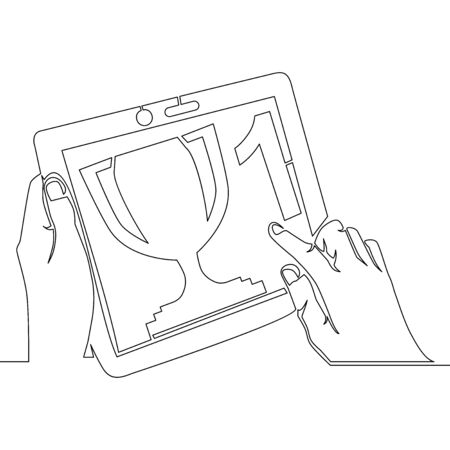Continuous one single line drawing online reward icon vector illustration concept