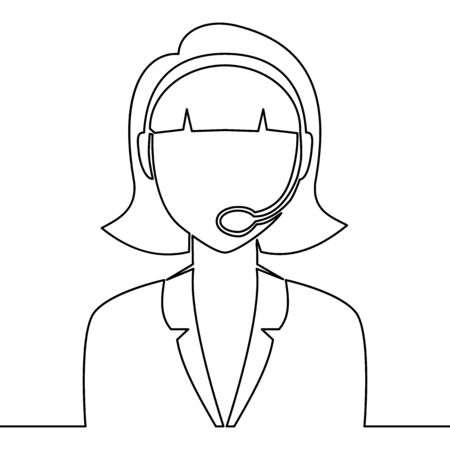 Continuous one single line drawing telemarketing agent operator with headsets Call center icon vector illustration concept