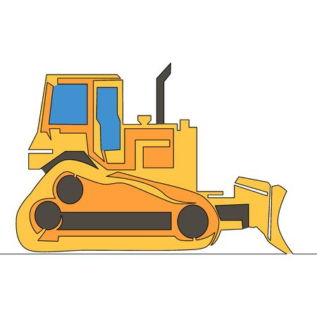 Flat continuous drawing line art construction machine tractor bulldozer icon vector illustration concept