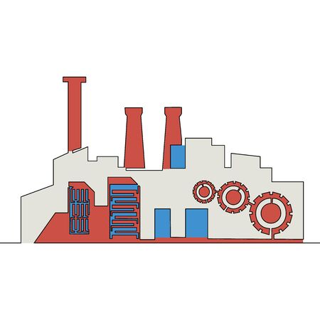 Flat continuous drawing line art Industrial factory building icon vector illustration concept