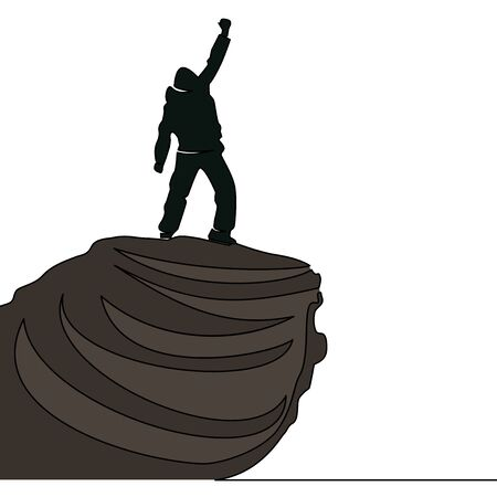 Flat continuous drawing line art Man standing on the top of mountain icon vector illustration concept Illusztráció