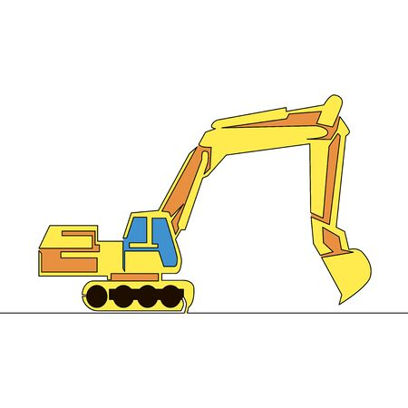 Flat continuous drawing line art Construction machinery excavator icon vector illustration concept