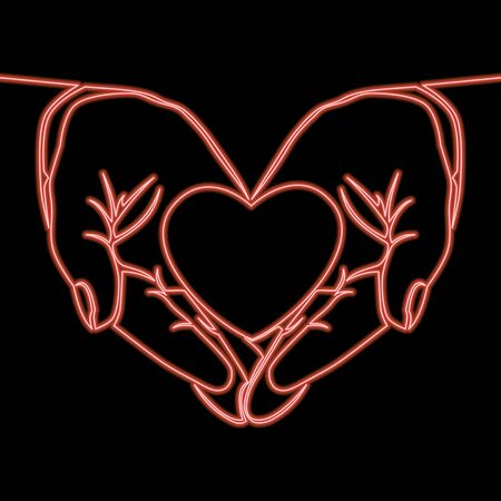 Continuous one single line drawing Hands holding heart Medicine and health care icon neon glow vector illustration concept
