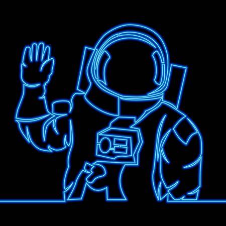 Continuous one single line drawing Astronaut spaceman icon neon glow vector illustration concept Illusztráció