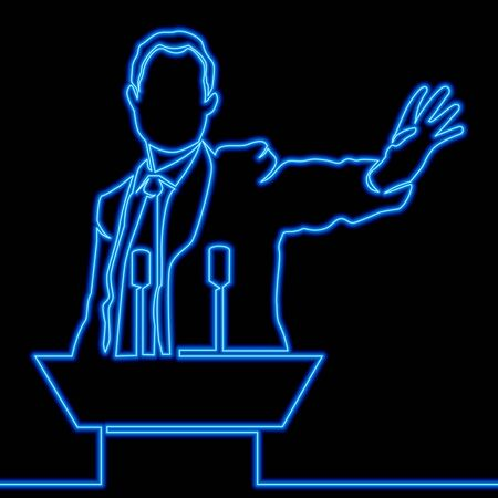 Continuous one single line drawing Speaker Man and microphones icon neon glow vector illustration concept