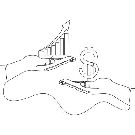 Continuous one single line drawing business financial deals trade graph icon vector illustration concept