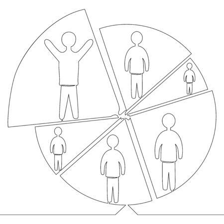 Continuous one single line drawing trade market icon vector illustration concept Illusztráció
