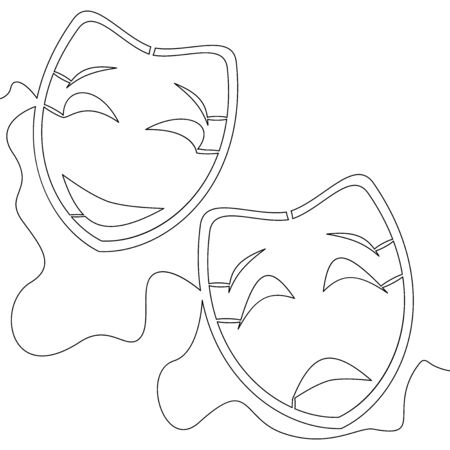 Continuous one single line drawing Comedy and tragedy line theater masks feelings icon vector illustration concept Illusztráció